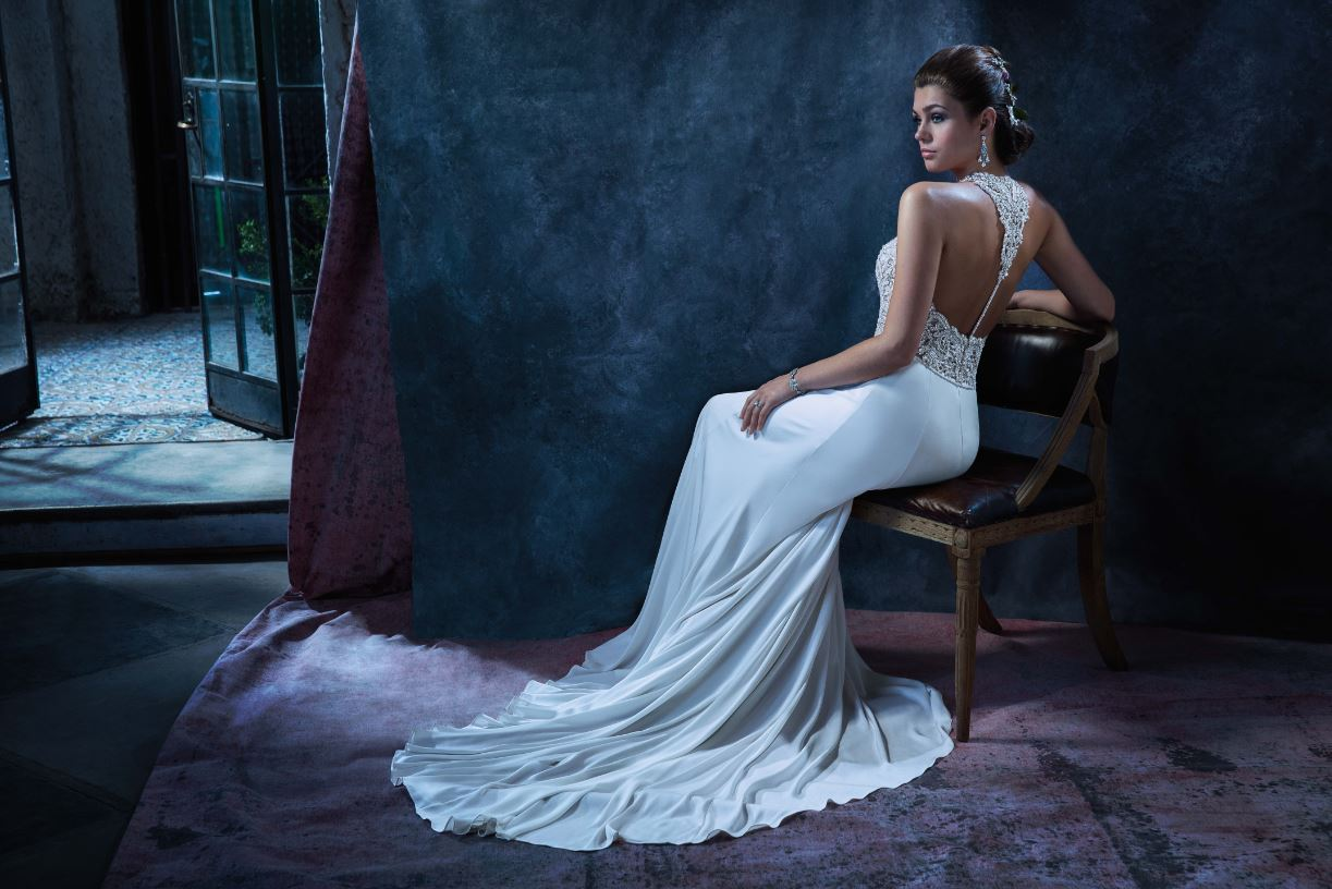Style C132 Gloria // Satin Wedding Dress with Beaded Bodice by Amare Couture