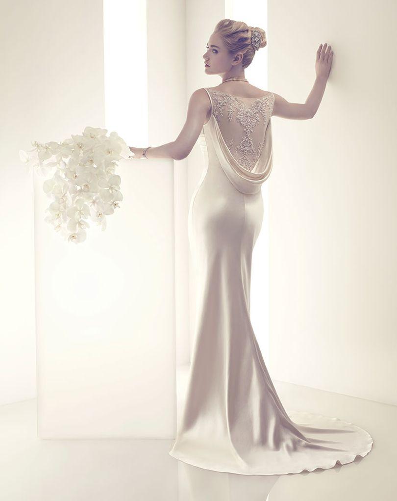 Illusion Back With Draped Satin Wedding Dress Modern Sheath Elegance
