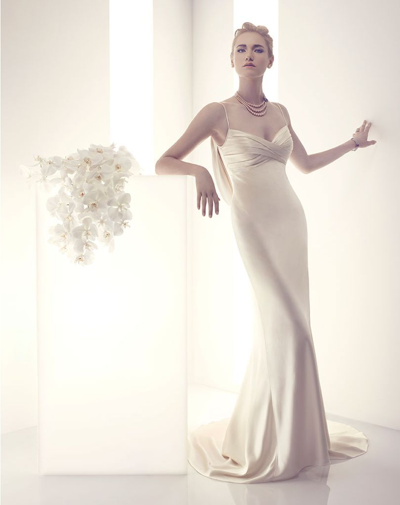Elegant Sating Wedding Dress With Unique Back Amare Couture
