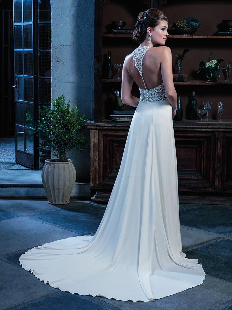 Wedding Dress with Beaded T-Strap Back