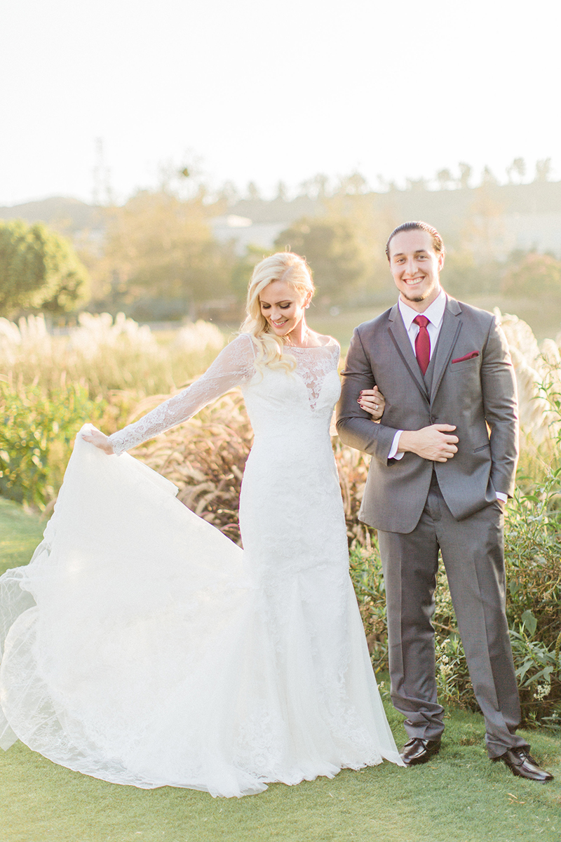 Romantic Golf Course Wedding | Style C115 Amare Couture Long Sleeve Lace Wedding Dress