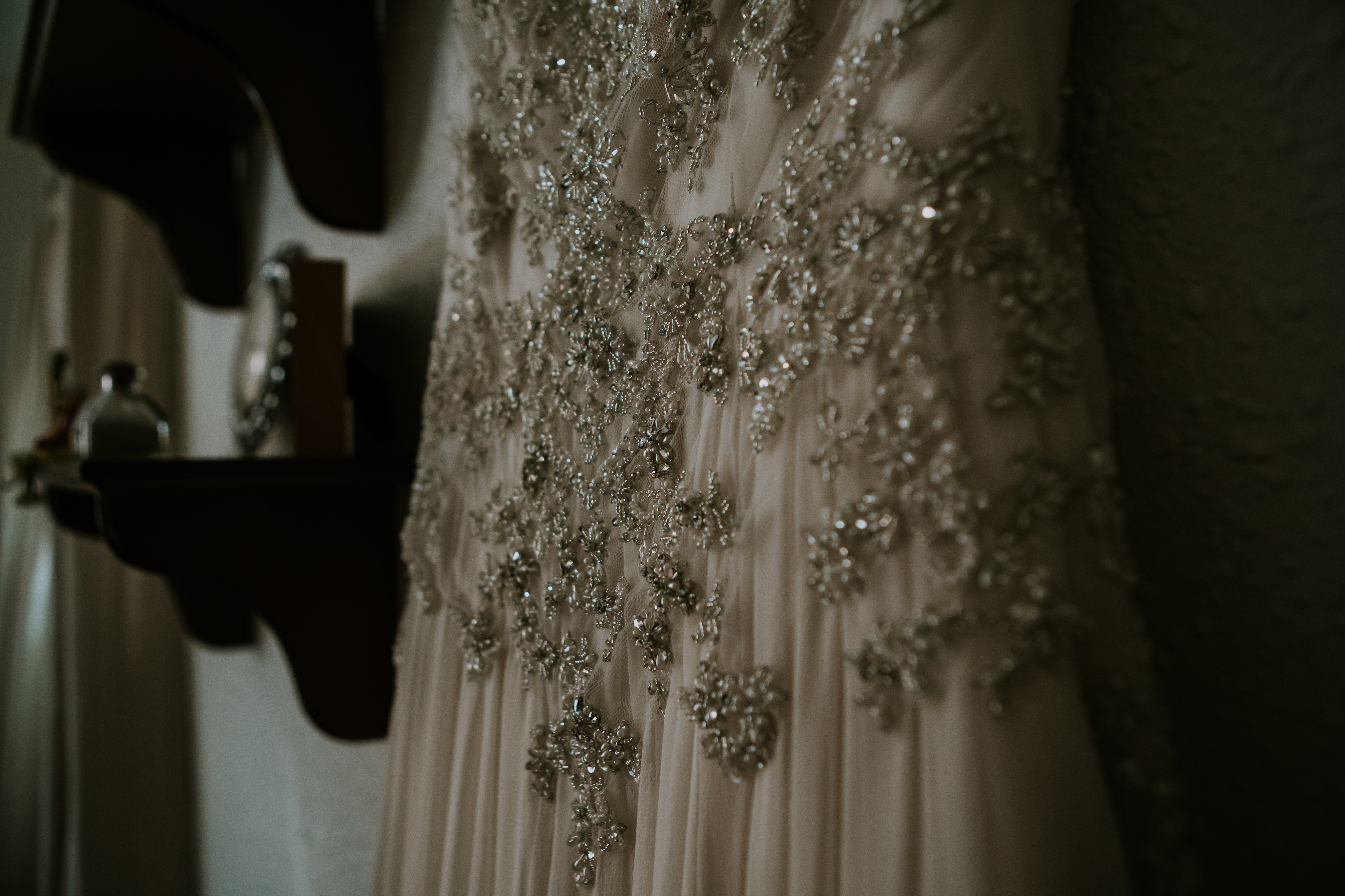 Magically Beaded Soft Silk Chiffon Wedding Dress by Amare Couture