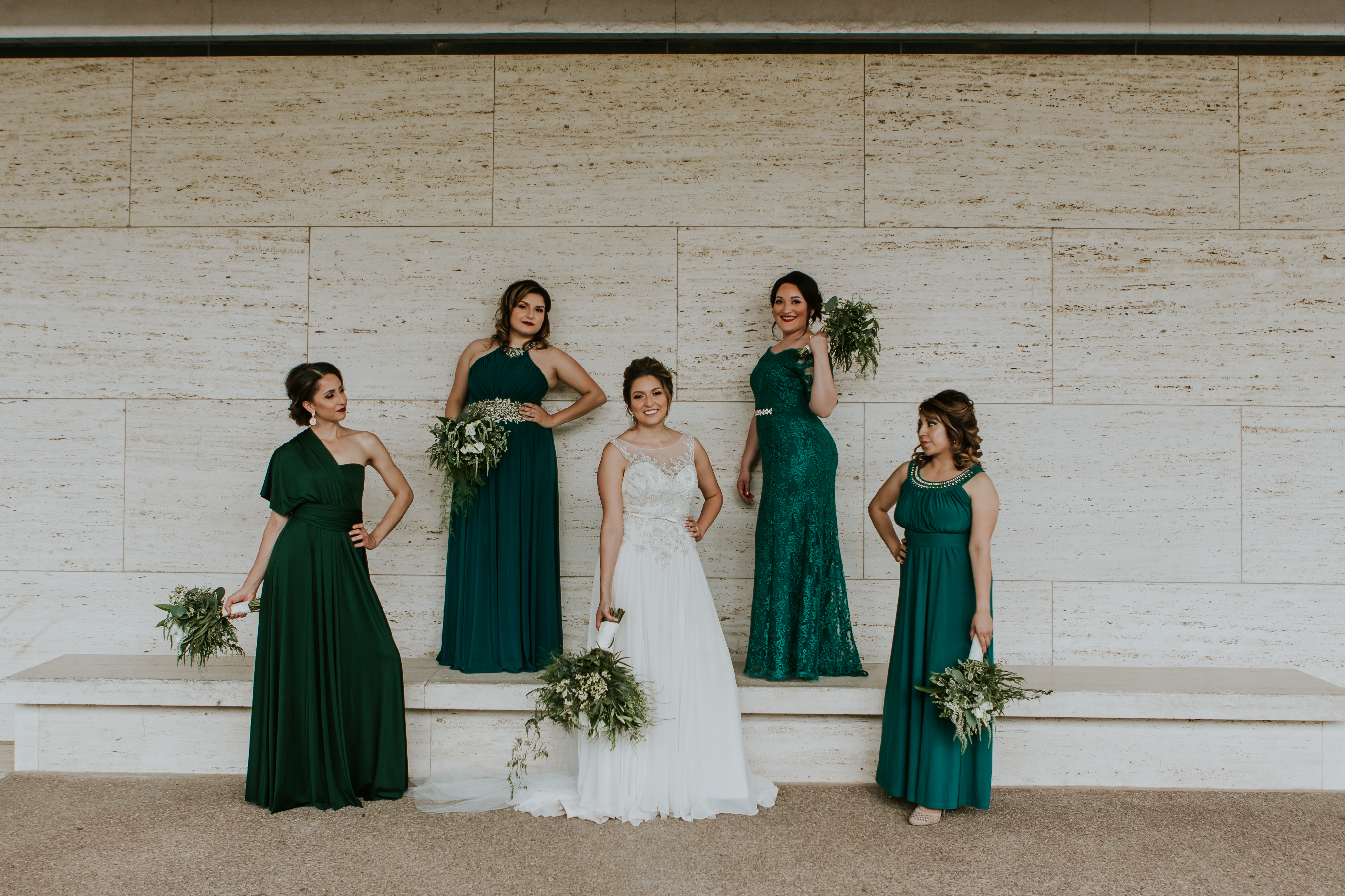 Bridesmaids in Emarald // Modern Chic Mansion Wedding with Amare Bride Perla