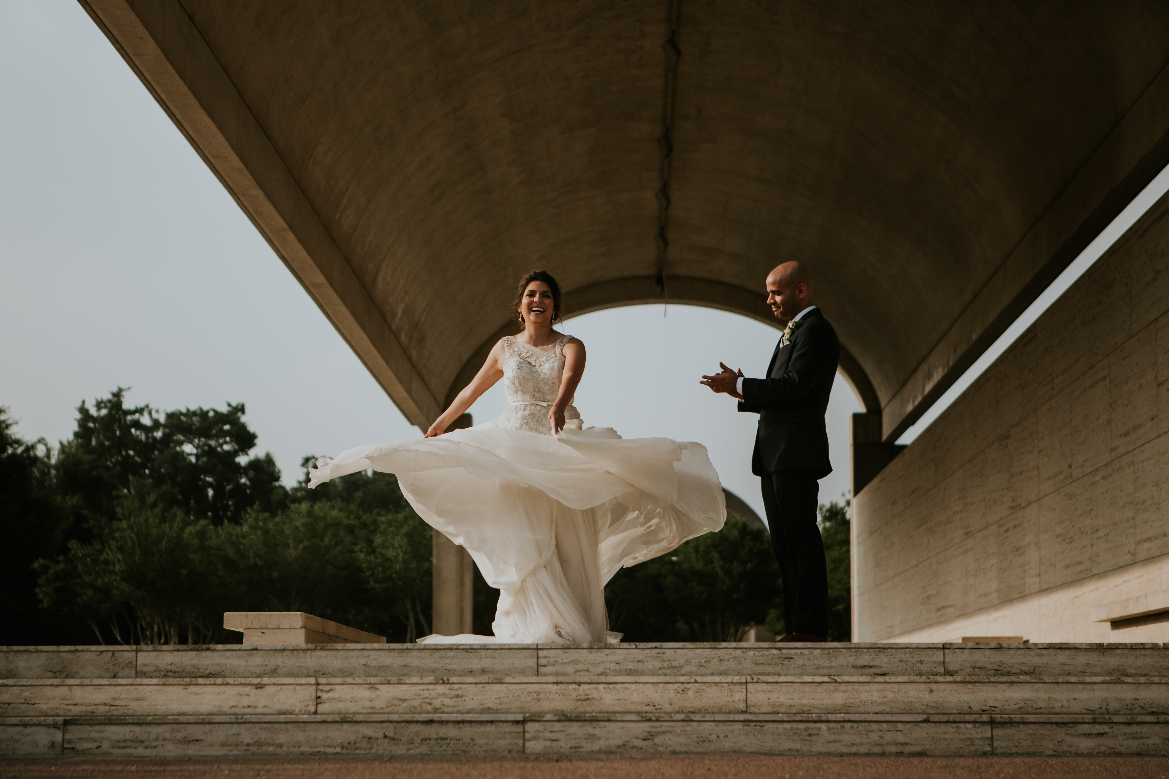 Twirling in Soft Silk Chiffon // A Modern Chic Mansion Wedding by Amare Couture