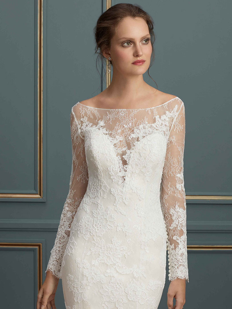 Lace Ling Sleeve Wedding Gown With Plunging Neckline