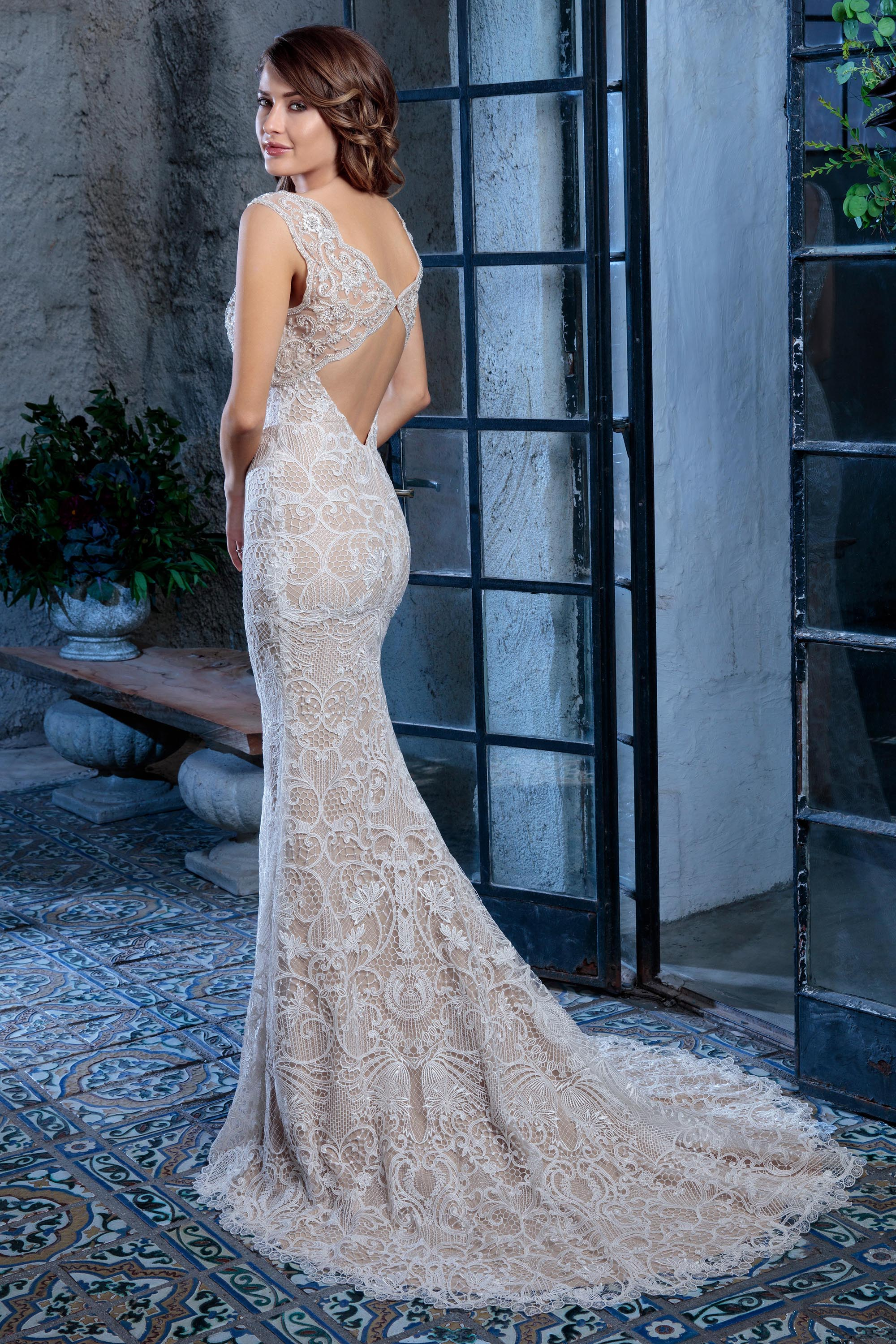 Amare Couture | Style C133 Colette | Fit and Flare Honeycomb Lace Wedding Gown