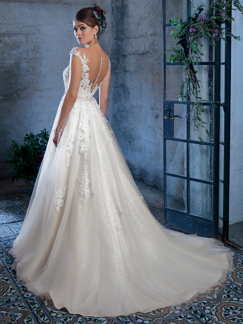 Amare Couture Style C134 Gabriela Ballgown Wedding Dress Sparkling Tulle Lace Illusion Back