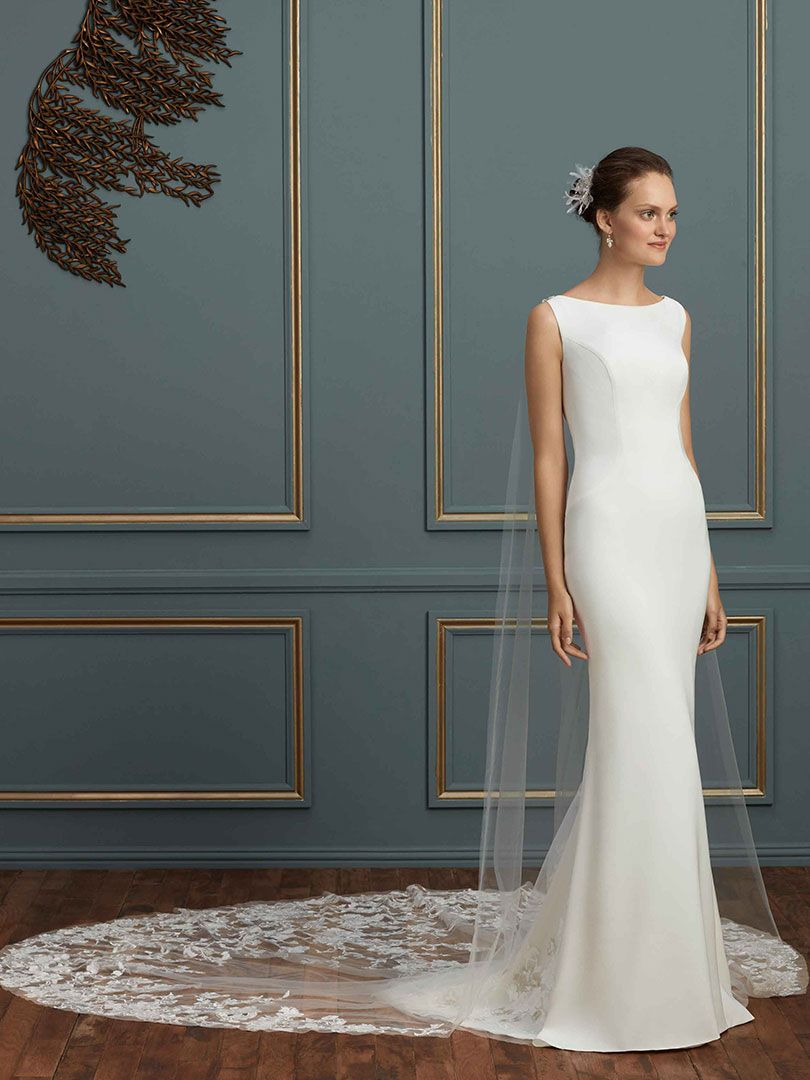 Amare Couture Style C122 Modern Wedding Dress with Watteau Illusion Train  ... cc728636dc33
