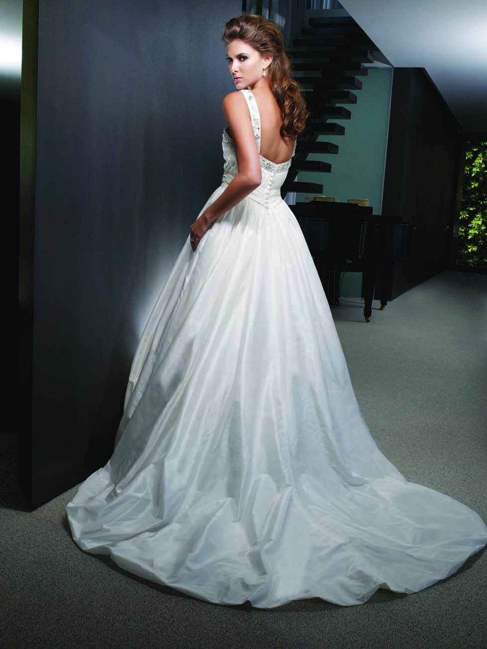 Removable lace overlay wedding dress
